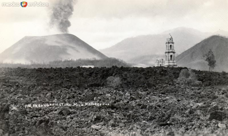 Fotos de Paricut�n, Michoac�n, M�xico: Templo de Parangaricutiro, cubierto de lava