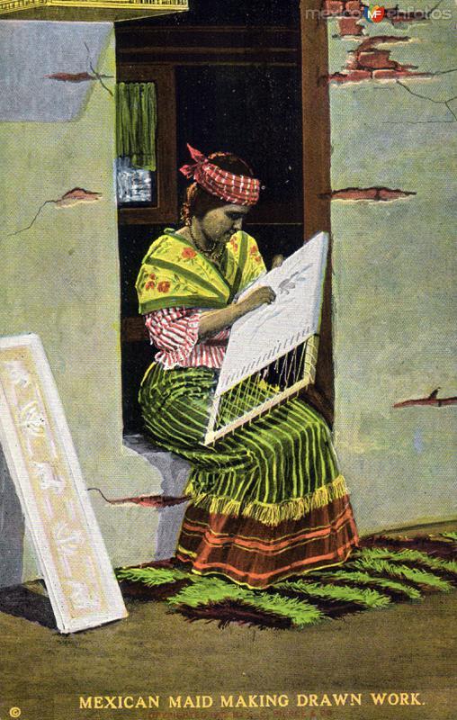 Fotos de , , M�xico: Sirvienta haciendo trabajo de deshilado