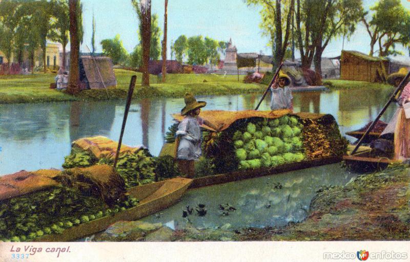 Mercado acuático en el Canal de la Viga