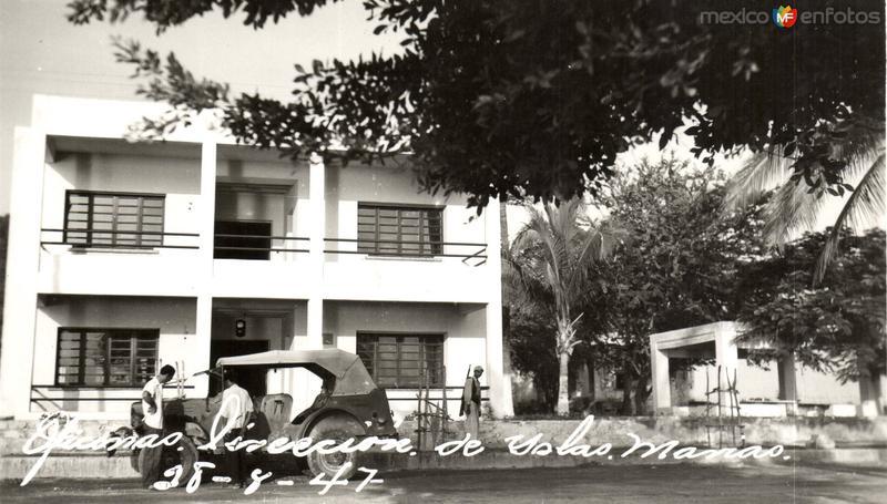 Oficinas. Postal antigua de Las Islas Marías 28-8-47
