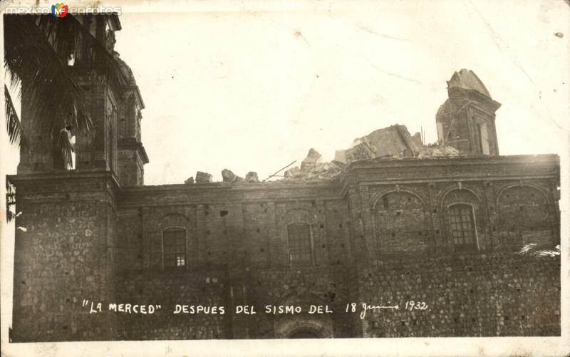Templo de La Merced, después del sismo de 18 de junio de 1932