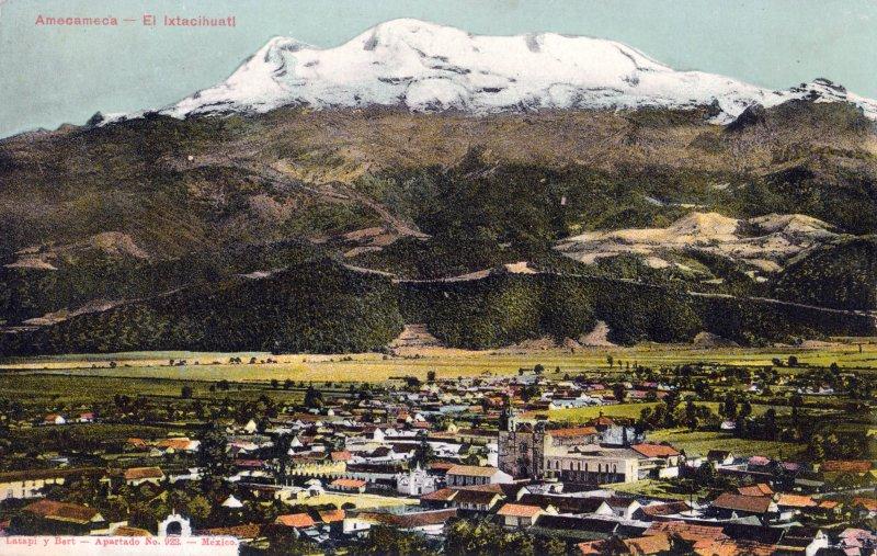 Vista panorámica de Amecameca y el Iztaccíhuatl