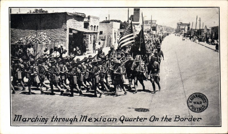 Batallón estadounidense marchando en la frontera