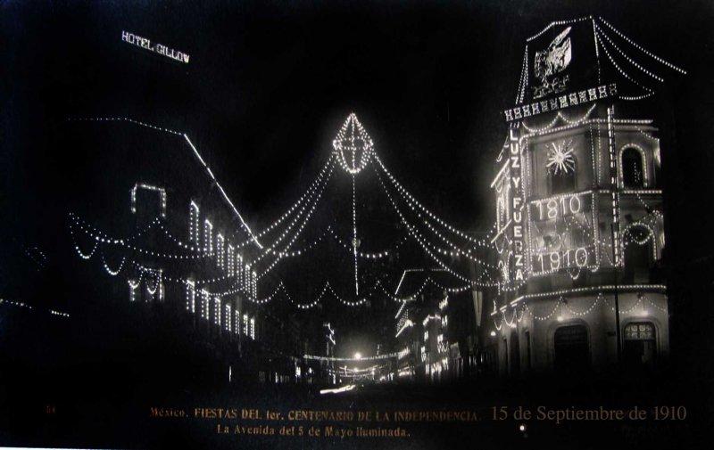 Calle del Cinco de mayo Celebracion delCentenario de 1910 Hacia 1910
