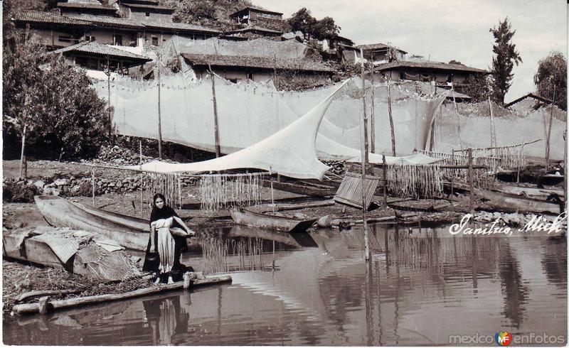 Secando las mantas hacia 1945