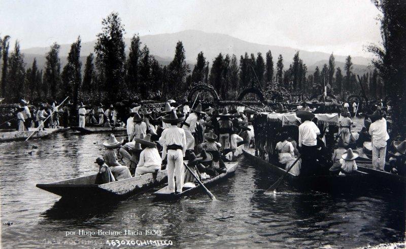 Canales de Xochimilco por Hugo Brehme Hacia 1930