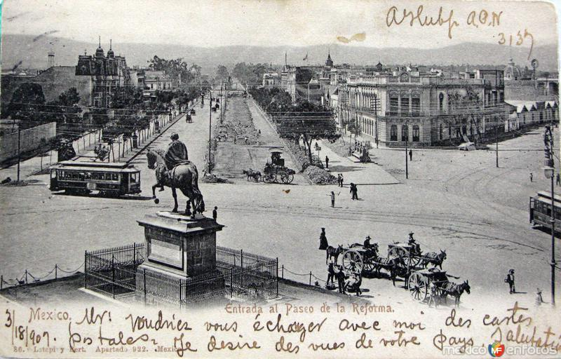 Entrada al Paseo de la Reforma Hacia 1907