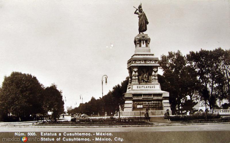 Estatua de Cuahutemoc Hacia 1930