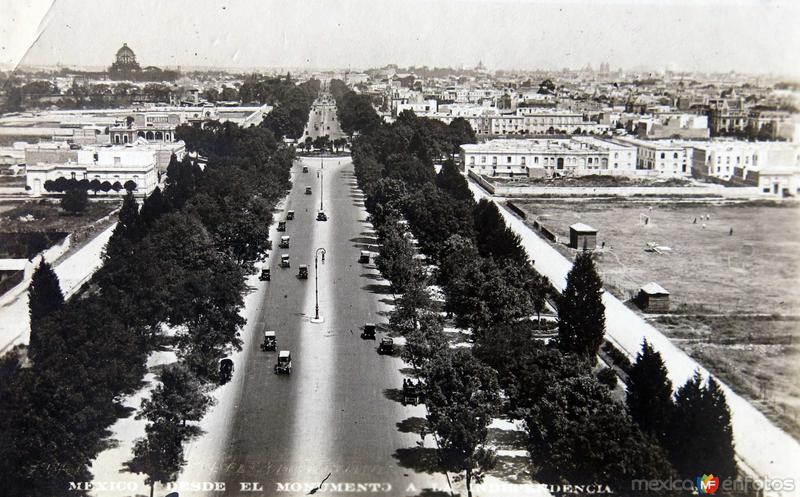 Avenida Reforma desde el Mto.a la Independencia Hacia 1945