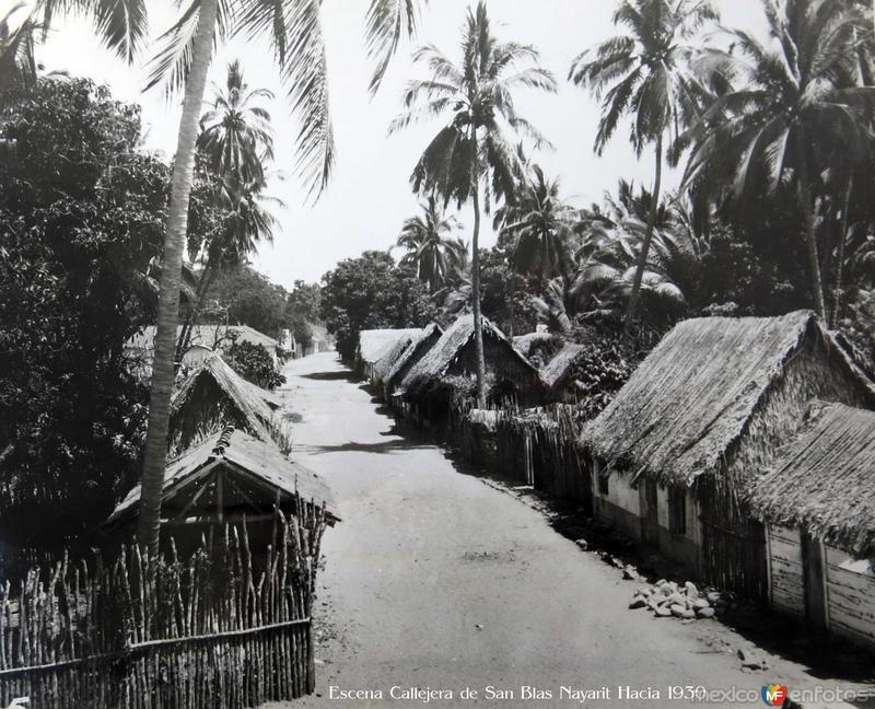 Escena Callejera de San Blas Nayarit Hacia 1930