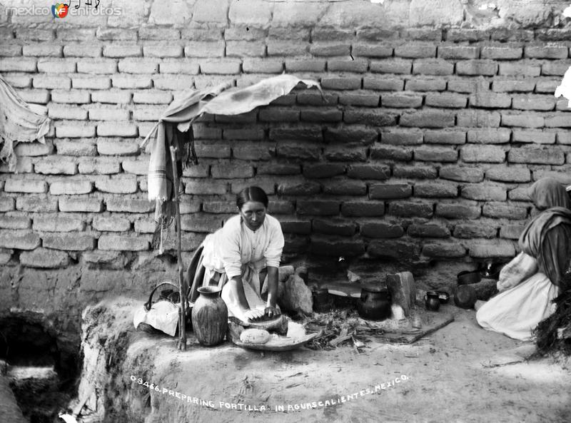 Preparando tortillas (por William Henry Jackson, 1891)