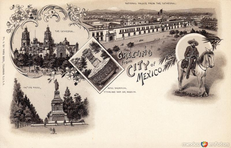Postal con vistas múltples de la Ciudad de México
