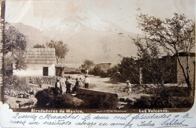 EL VOLCAN POPOCATEPETL por el fotografo ABEL BRIQUET hacia 1900
