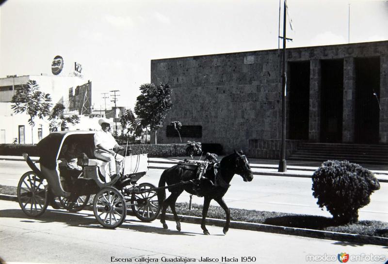 Escena callejera Guadalajara Jalisco Hacia 1950