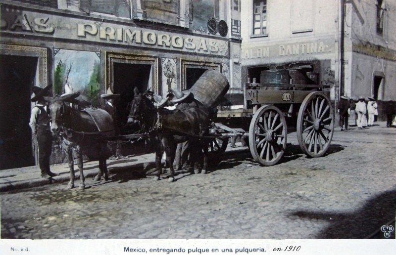Entregando pulque en una pulquería (ca. 1910)