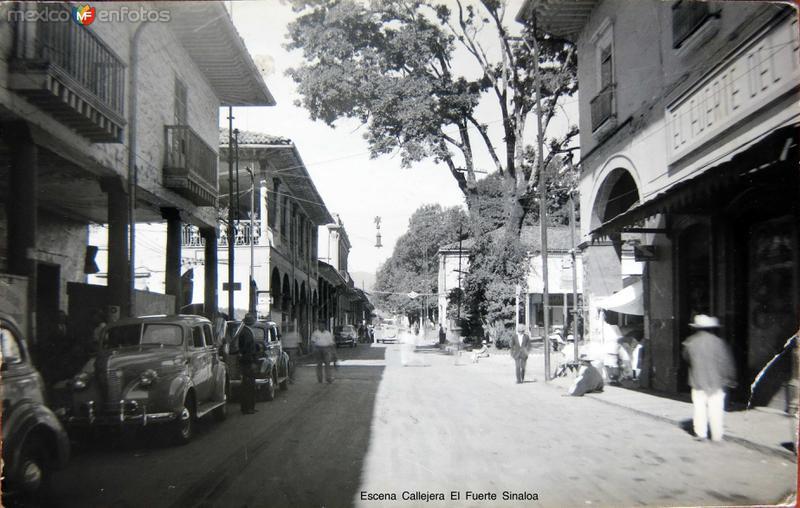 Escena Callejera El Fuerte Sinaloa Circa 1930-1950