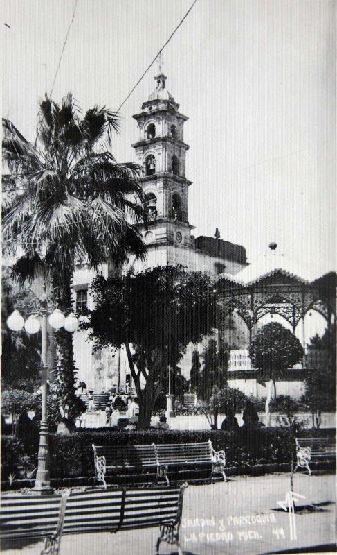 Fotos de La Piedad, Michoacán, México: JARDIN Y PARROQUIA circa 1930-1950