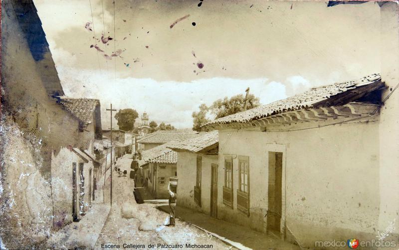 Escena Callejera de Patzcuaro Michoacan Circa 1930-1950