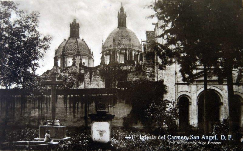 IGLESIA DE EL CARMEN DE SAN ANGEL Por el fotografo Hugo Brehme Circa 1930