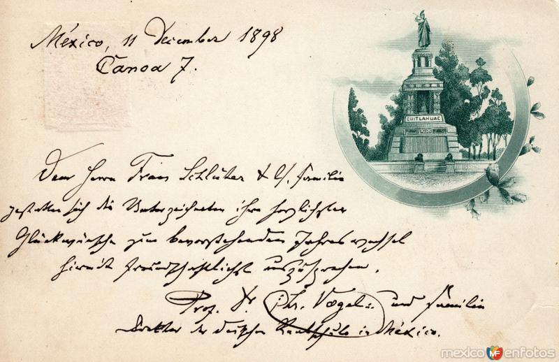 Postal del Monumento a Cuauhtémoc (1898)