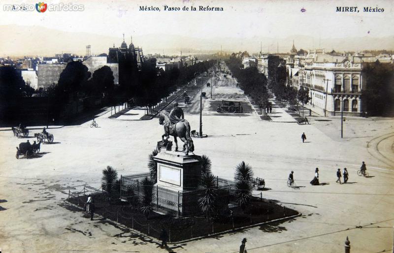 PASEO DE LA REFORMA por el fotografo Félix Miret circa 1900-1920