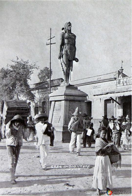 Estatua de los Indios Verdes hacia 1900-1920