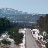 Invierno nevado en la carretera a Creel