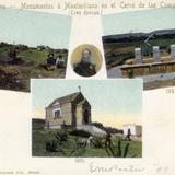 Evoluci�n de los monumentos a Maximiliano, en el Cerro de las Campanas, en 1867, 1883 y 1901