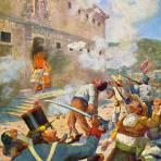 El Pípila incendiando la entrada de la Alhóndiga de Granaditas