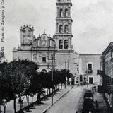 Plaza Zaragoza y Catedral por el fotografo Felix Miret hacia 1900-1920 - Monterrey, Nuevo León