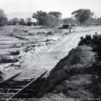 Via Ferroviaria danada despues de una Inundacion en el Rio Sonora entre Magdalena de Kino e Imuris Circa 1914-1915 - Imuris, Sonora