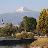 Volcán La Malinche con su cumbre nevada desde el Parque Ecológico. Marzo/2016
