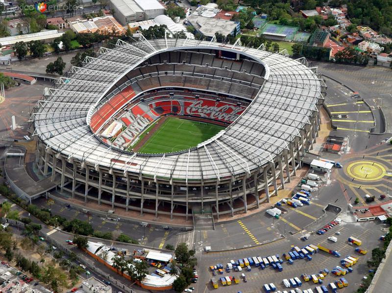 Vista aérea sobre el estadio Azteca