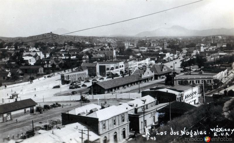 Vista panorámica de Nogales, Sonora y Nogales, Arizona