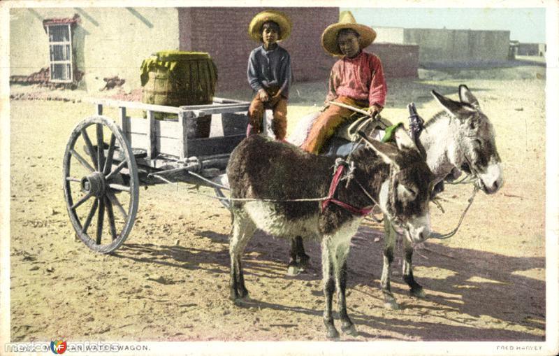 Carro transportador de agua en México