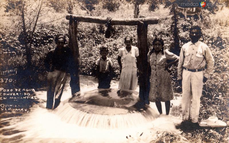 Pozo de agua convertido en manantial