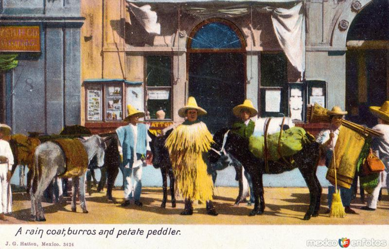 Hombre con impermeable, burros y vendedor de petates