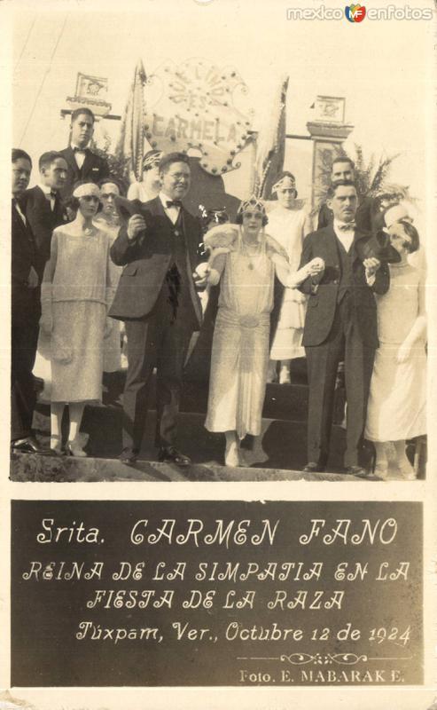 Reina de la Simpatía. Fiesta de La Raza en Tuxpám. 1924