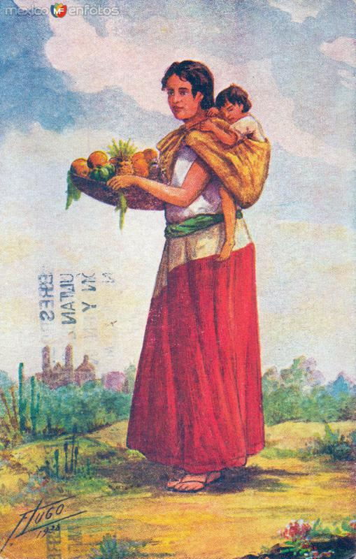 Mujer con frutas cargando un niño