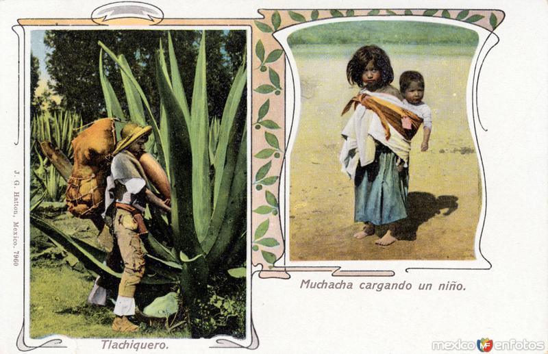 Tlachiquero y muchacha cargando un niño