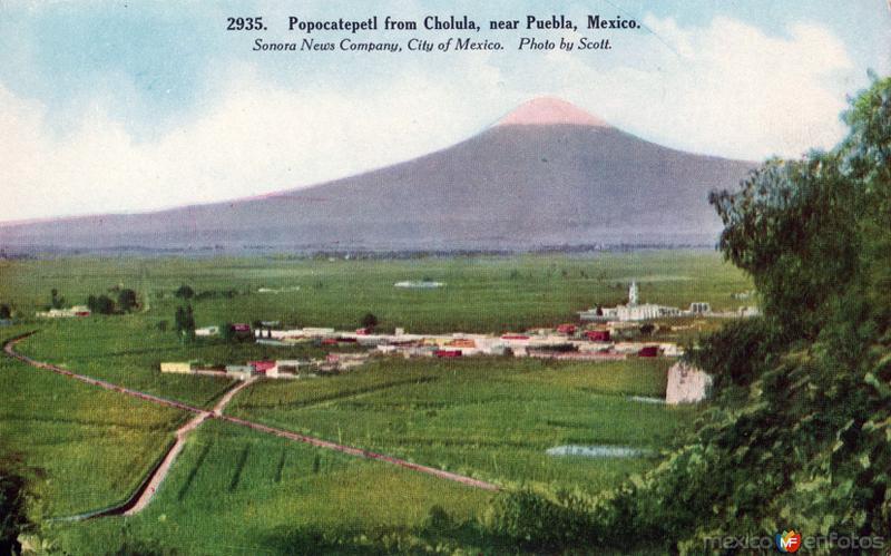 Vista del Popocatépetl desde Cholula