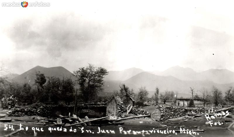 Destrucción volcánica del pueblo de San Juan Parangaricutiro