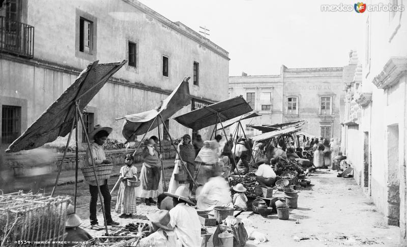 Mercado en la Calle de la Academia y República de Guatemala (por William Henry Jackson, c. 1888)