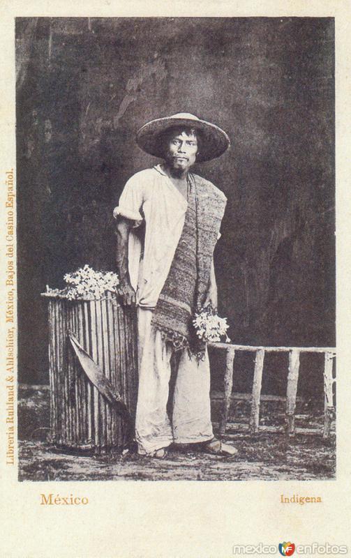 Indígena con flores