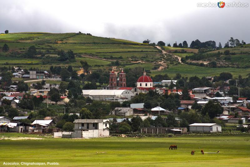 Vista del bello pueblo de Acoculco, desde su Ex Hacienda