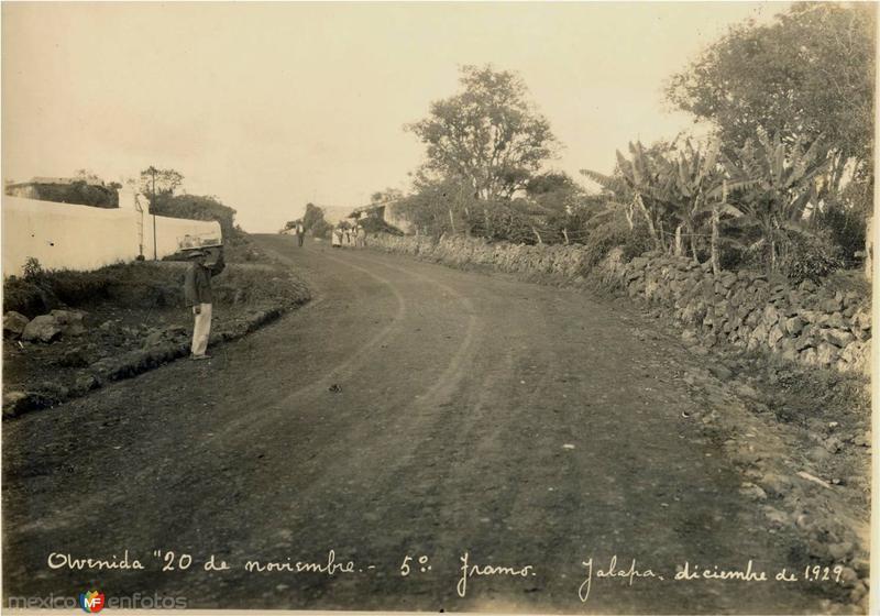 Fotografía de la Avenida 20 de noviembre del mes de diciembre de 1929