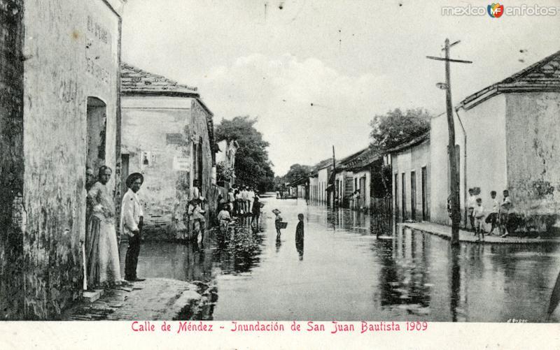 Inundación de Villahermosa, en 1909: Calle de Méndez