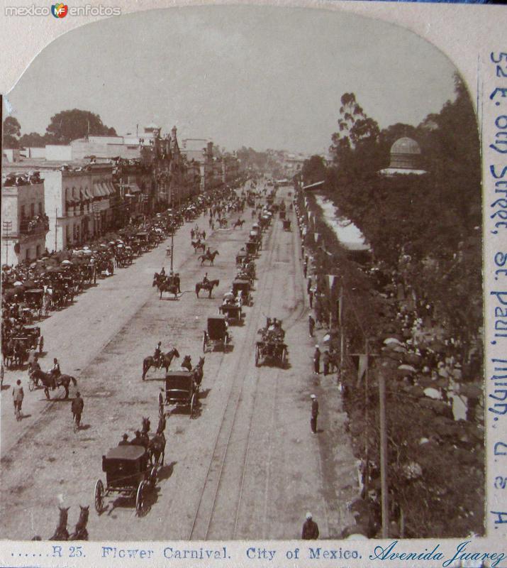 Ave. Juarez Carnaval de Flores Hacia 1900