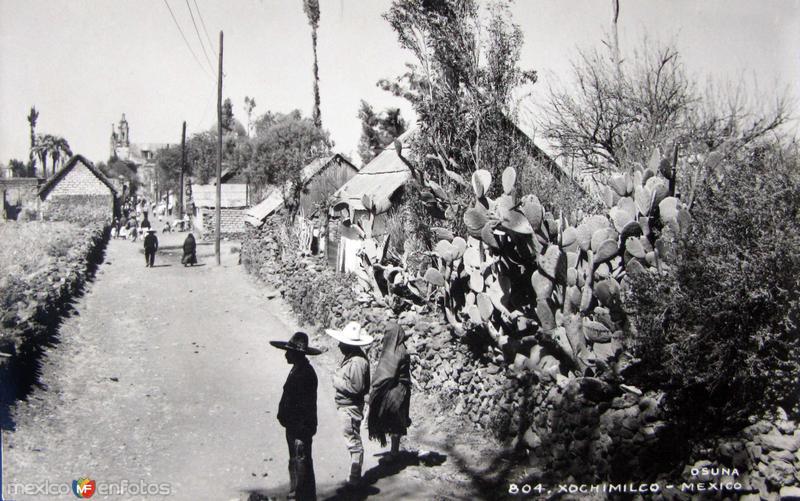 Escena callejera de Xochimilco Hacia 1945