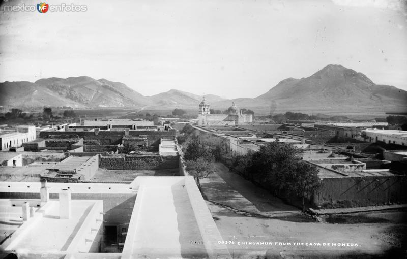 Vista panorámica de Chihuahua desde la Casa de Moneda II (por William Henry Jackson, c. 1888)